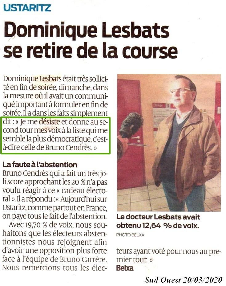 Dominique LESBATS se désiste!